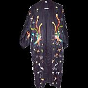 Black silk chinese bird crane peacock hawk floral embroidered vintage kimono robe jacket