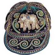 Vintage 80s puffy elephant india velvet sequin embroidered hat