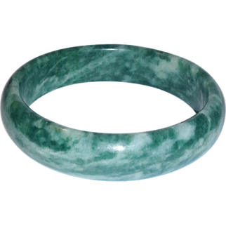 Jade green  and white estate bangle bracelet
