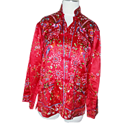 Stunning elaborate vintage red and multi color bird floral fine Silk Chinese Jacket robe Hand Embroidered