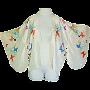 Lovley vintage butterflies silk japanese kimono jacket
