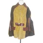 Vintage 70s suede leather hippie boho cape coat