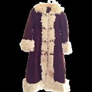 Boho Vintage suede princess coat with curly hair  lamb sheepskin fur hippie 60s 70s