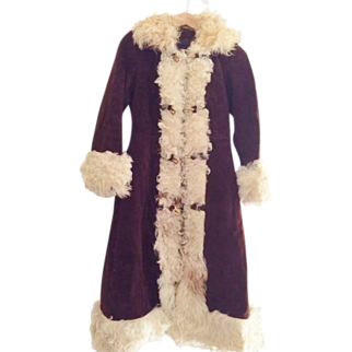 Boho Vintage suede princess coat with curly hair  lamb sheepskin fur hippie 60s 70s