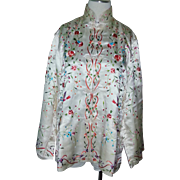 Beautiful elaborate vintage white ivory and multi color bird floral fine Silk Chinese Jacket robe Hand Embroidered