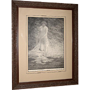 Bolton Brown Pencil Signed Lithograph Tonalist Nude Sifting Shadows 1920 Framed