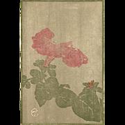 Edna Boies Hopkins Original Color Block Print Woodcut Petunia Flower 1908 in Archival Mat