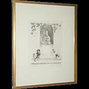 Marguerite Kirmse Original Pencil Signed Pekinese Dogs Etching Strange Gods 1928 Framed
