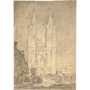 D.Y. Cameron Hand Signed Pencil Drawing of 13th C. Coutances Church France c. 1910 Unframed