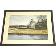 Andree Ruellan Original Hand Signed Watercolor Coastal Lighthouse c. 1950 Framed