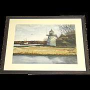 Andree Ruellan Original Hand Signed Watercolor Coastal Lighthouse c. 1950 Framed