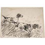 Diana Thorne Original Hand Signed Pencil Drawing of Two Retriever Hunting Dogs c. 1935 Framed