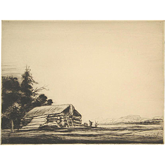 Levon West Pencil Signed Etching Lone Cabin in the Rocky Mountains West 1928 Unmatted, Unframed