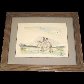 Levon West Excellent Signed Watercolor Indian Mother on Horseback c. 1928 Custom Oak Frame