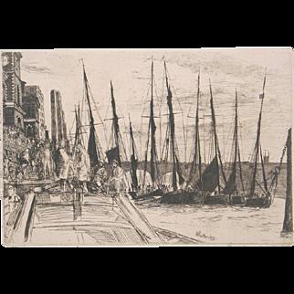 James M. Whistler Original Etching Billingsgate England 1859 Signed in the Plate Portfolio Edition