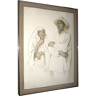 Francisco Zuniga Outstanding Pencil Signed Lithograph La Abuela (Grandmother) 1981 Beautifully Framed