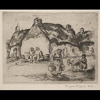 Eugene Higgins Original Pencil Signed Etching Claddagh House Ireland 1924