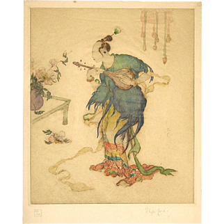 Elyse Lord Signed Color Etching with Block Printing The Rainbow Skirt c. 1925