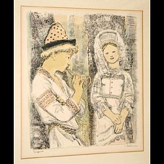 Russian Artist Alexandra Yakobson Original Pencil Signed Color Lithograph Snow Maiden 1960 Framed