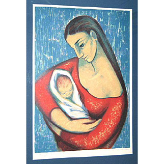 Spanish Artist Maria Josefa Colom Original Pencil Signed Color Lithograph Mother & Child c. 1975 Framed