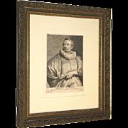 Van Dyck Excellent Original 17th Century Engraving of Artist Adrianus Stalbent by Paulus DuPont c. 1643 Framed