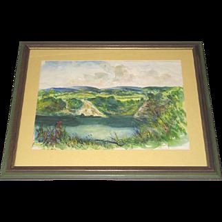 Herbert Pullinger Hand Signed Watercolor Painting Vulcanite Co. Swimming Hole Quarry 1953-54 Framed Pennsylvania Artist