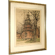 Luigi Kasimir Original Color Aquatint Etching Independence Hall Philadelphia c. 1930 Pencil Signed by the Artist Framed