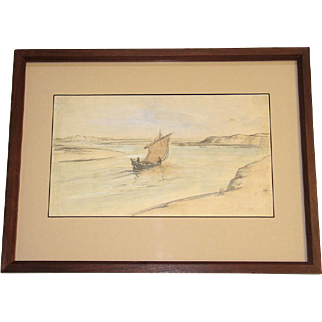 D.Y. Cameron Lovely Hand Signed Watercolor Drawing Canal Boat c. 1930 Framed Scottish Artist