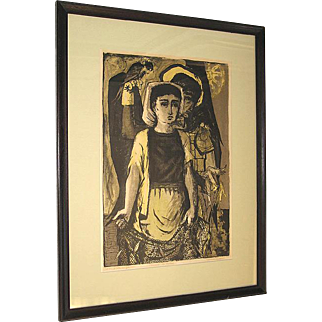 Benton Spruance Large Pencil Signed Limited Edition Color Lithograph St. Francis - the Fields 1953 Framed