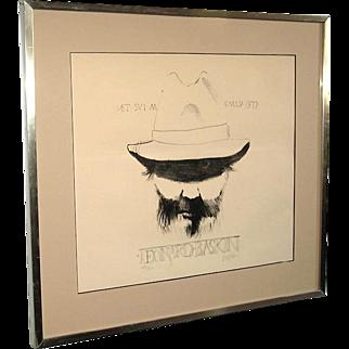 Leonard Baskin Large Original Pencil Signed Self Portrait Stone Lithograph 1977 Framed