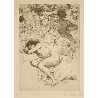 Armand Berton Pencil Signed French Etching Nude Nymph and Satyr c. 1910 Fantasy Unmatted, Unframed