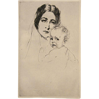 Arthur W. Heintzelman Original Pencil Signed Etching Young Basque French Mother and Child 1927 Unmatted, Unframed