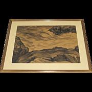 Leo J. Meissner Large Hand Signed Drawing of Surf and Rocks Mohegan Maine c. 1938 Framed