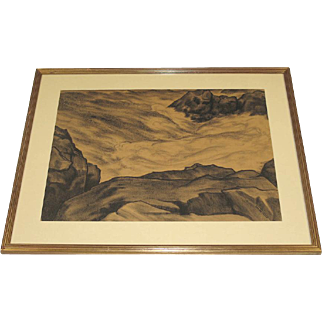 Leo J. Meissner Large Hand Signed Drawing of Surf and Rocks Mohegan Maine c. 1938 Framed