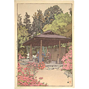 Hiroshi Yoshida Signed Color Block Print Woodcut the Artist's Azalea Garden Japan 1935