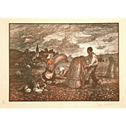 Paul Emile Colin Pencil Signed Color Wood Block Print Haystacks France 1904 Woodcut Ed. 50 Unframed