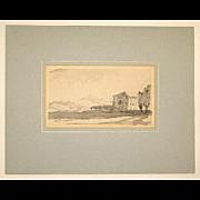 Muirhead Bone Hand Signed Watercolor Wash Drawing Padua Italy Landscape c. 1920 in Mat, Unframed