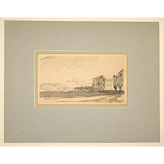 Muirhead Bone Hand Signed Watercolor Wash Drawing Padua Italy Landscape c. 1920 in Mat, Unframed