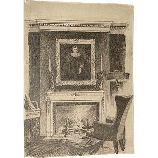 Charles F. Mielatz Two Rare Works Pencil Drawing and a Pencil Signed Etching of a New York Interior 1914 Unframed