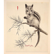 Margaret Ann Gaug Original Hand Signed Watercolor Brush Drawing Chipmunk c. 1955 in Mat, Unframed