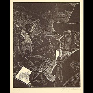 Fritz Eichenberg Original Pencil Signed Woodcut Portrait of Goya 1984 Block Print Unframed in Original Folder