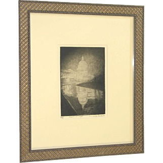 Don Swann Original Pencil Signed Etching Capitol Building at Night Washington, DC c. 1945 Framed