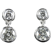 Diamond Earrings 1.20ct Double Drop 18ct White Gold