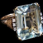 Art Deco 30cctw Emerald Cut Aquamarine & Diamond 14CT Ring