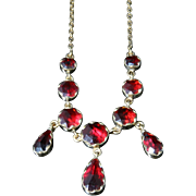Antique Georgian Garnet Dropper Necklace - Circa 1800 - 18CT Gold