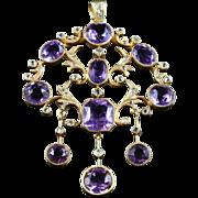 Victorian Amethyst Diamond Garland Cascading Large Gold Pendant