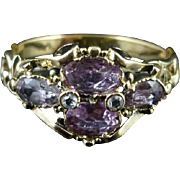 Georgian Pink Topaz & Diamond 18ct Gold Beautiful Ring