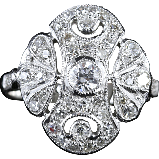 Antique Edwardian Large Diamond Cluster Ring 18ct White Gold