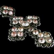 Antique Georgian Silver Cross Pink Paste Pendant