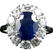 Antique Edwardian Sapphire Diamond Ring French Engagement 3ct Natural Sapphire